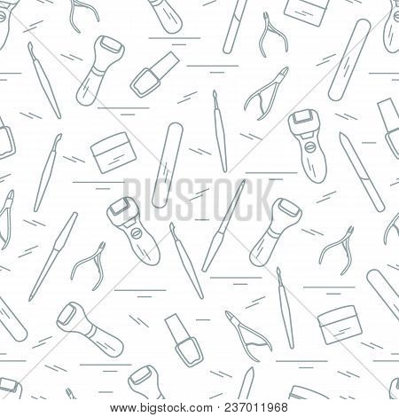 Seamless Pattern With Variety Tools For Manicure And Pedicure. Personal Care. Design For Banner, Pos