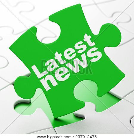 News Concept: Latest News On Green Puzzle Pieces Background, 3d Rendering