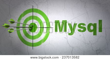 Success Software Concept: Arrows Hitting The Center Of Target, Green Mysql On Wall Background, 3d Re