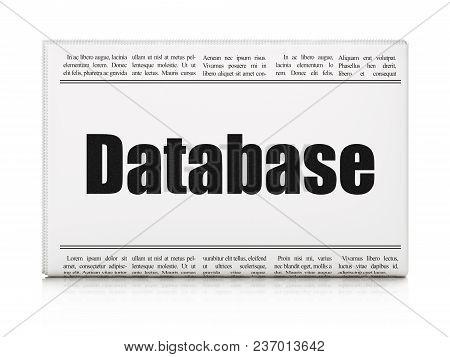 Software Concept: Newspaper Headline Database On White Background, 3d Rendering