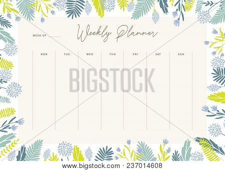 Cute Vector Weekly Planner Template. Elegant Floral Pastel Tone Organizer And Notepad. Week Calendar