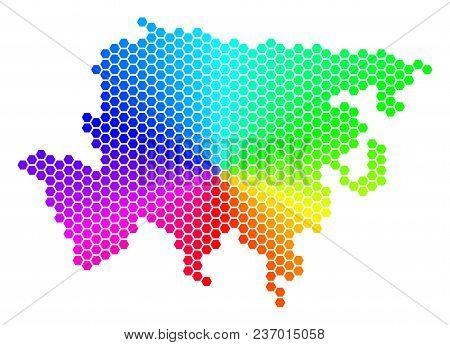 Spectrum Hexagon Asia Map. Vector Geographic Map In Rainbow Colors On A White Background. Spectrum H