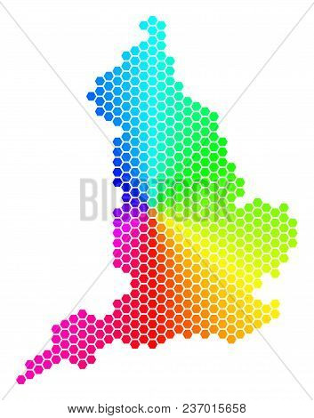 Hexagon Spectrum England Map. Vector Geographic Map In Bright Colors On A White Background. Spectrum