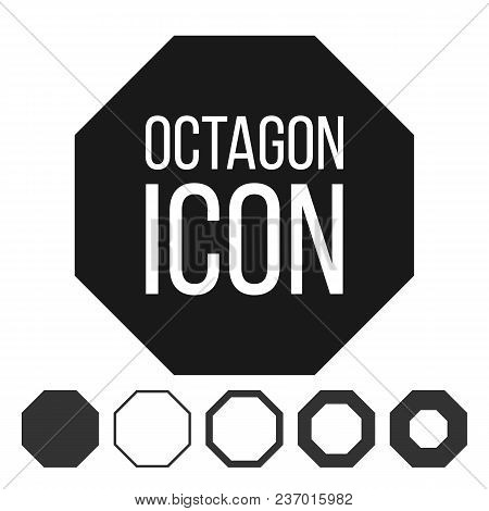 Octagon Icon Vector. 8 Eight Sided Symbol. Geometry Chart. Octagonal Diagram Sign. Polygon Pictogram
