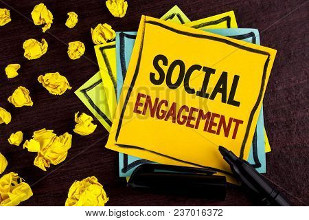 Conceptual Hand Writing Showing Social Engagement. Business Photo Showcasing Post Gets High Reach Li