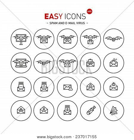 Vector Thin Line Flat Design Icon Set For Spam And Mail Virus Theme