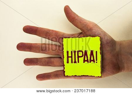 Word Writing Text Hipaa Motivational Call. Business Concept For Health Insurance Portability And Acc