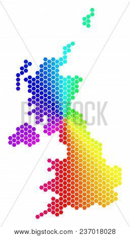 Spectrum Hexagon United Kingdom Map. Vector Geographic Map In Rainbow Colors On A White Background.