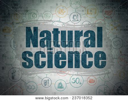 Science Concept: Painted Blue Text Natural Science On Digital Data Paper Background With  Scheme Of