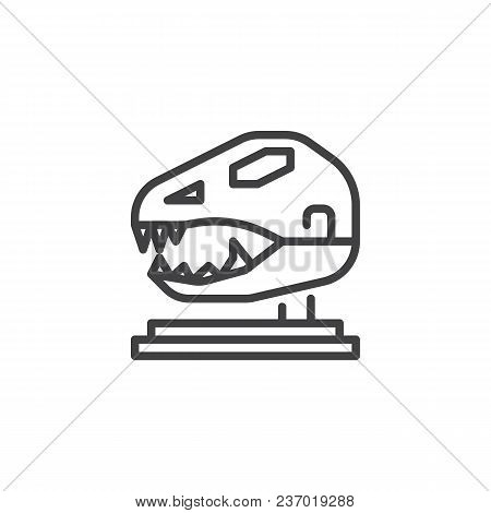 Dinosaur Skull In Paleontological Museum Outline Icon. Linear Style Sign For Mobile Concept And Web