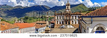 Panoramic View From Above The Central Square Of The Historic City Of Ouro Preto With The Museum Of T