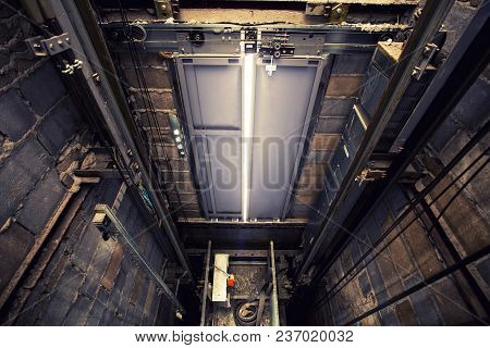 Heavy Equipment Of Lift Hole In Building Construction Site