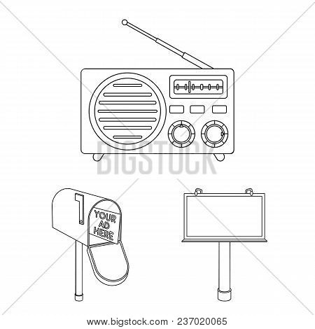 Production Of Advertising Outline Icons In Set Collection For Design. Advertising Equipment Vector S