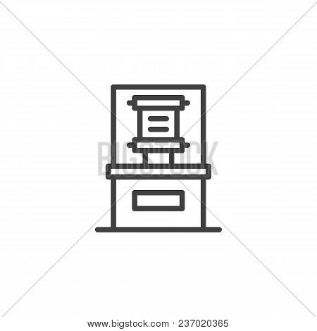 Ancient manuscript in museum glass showcase outline icon. linear style sign for mobile concept and web design. Papyrus sheet of paper exhibit simple line vector icon. Symbol, logo illustration poster