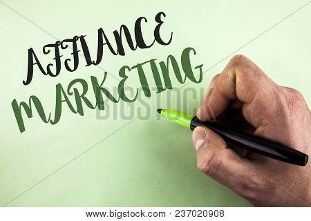 Text Sign Showing Affiance Marketing. Conceptual Photo Joining Two Or More Companies In Same Field M