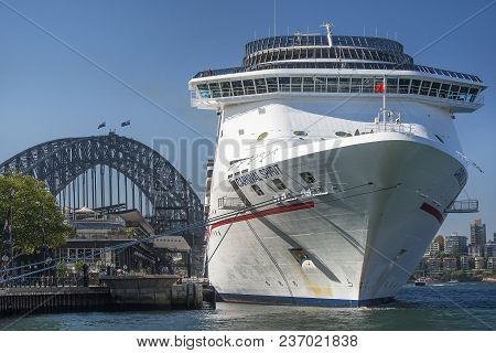 Sydney, Australia - March 24, 2018: Giant Cruise Liner Carnival Spirit Parked In The Sydney Harbour