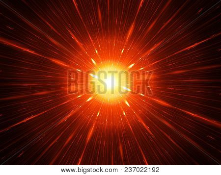 Fiery Glowing Red Laser Weapon Concept Fractal, Computer Generated Abstract Background, 3d Rendering