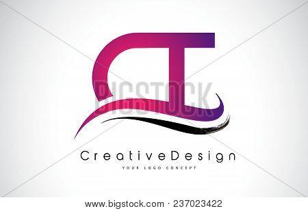 Ct C T Letter Logo Design In Black Colors. Creative Modern Letters Vector Icon Logo Illustration.