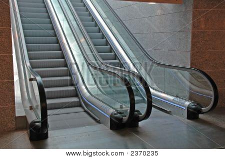 Modern Airport Interior With Escalators
