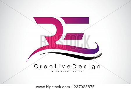 Re R E Letter Logo Design In Black Colors. Creative Modern Letters Vector Icon Logo Illustration.