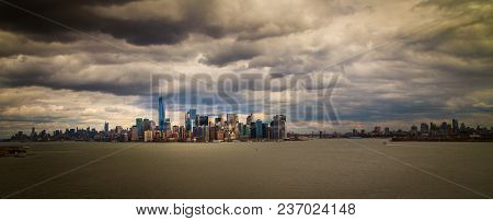 Dark Storm Clouds Over The New York City Waterfront