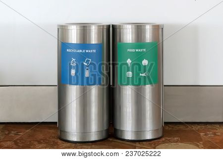 Two Types Of Waste Separation Tanks. Hazardous Waste. Dry Garbage. Wet Waste. Metal Trash Cans At Th