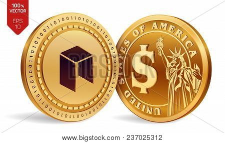Nem. Dollar Coin. 3d Isometric Physical Coins. Digital Currency. Cryptocurrency. Golden Coins With N