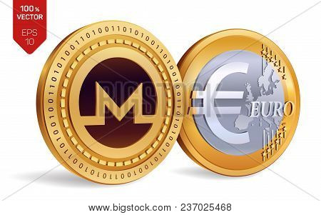 Monero. Euro Coin. 3d Isometric Physical Coins. Digital Currency. Cryptocurrency. Golden Coins With