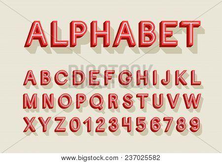 Retro Creative Alphabet With Shadow. Vector Illustration.