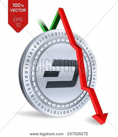 Dash. Fall. Red Arrow Down. Dash Index Rating Go Down On Exchange Market. Crypto Currency. 3d Isomet