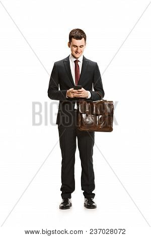 Full Body Or Full-length Portrait Of Smiling Businessman Or Diplomat With Briefcase On White Studio