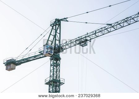 Green Construction Crane, Close-up Photo, Background Image