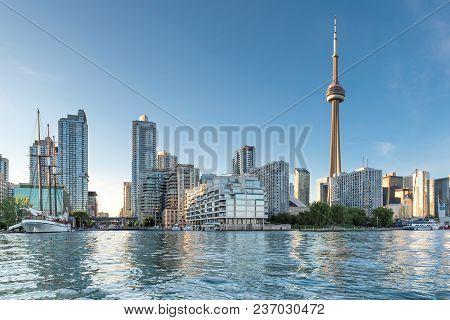 Toronto Skyline At Beautiful Sunset, Toronto, Ontario, Canada.