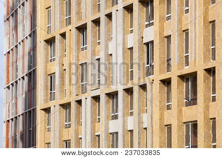 External wall insulation. Energy efficiency house wall renovation for energy saving.