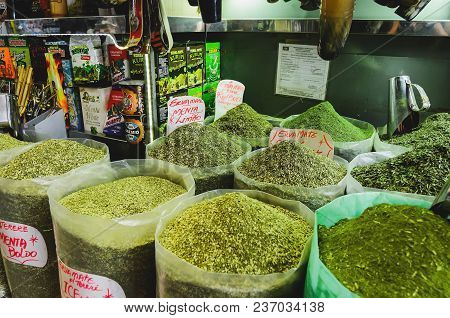 Green Herb ( Erva De Terere ) Being Sold At Mercadao Municipal.