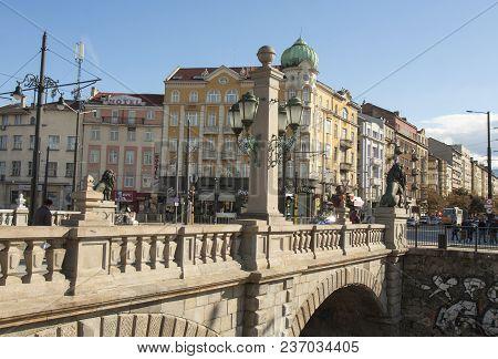 Sofia, Bulgaira - October 09, 2017 Lion Bridge Build In 1889 Year