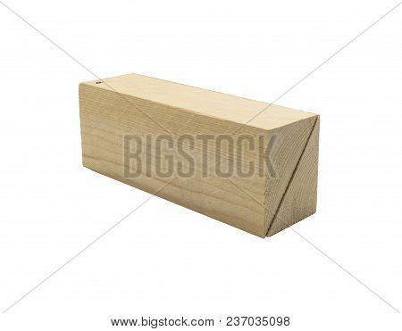 Wo Wooden Wedges Isolated On A White Background With Clipping Path