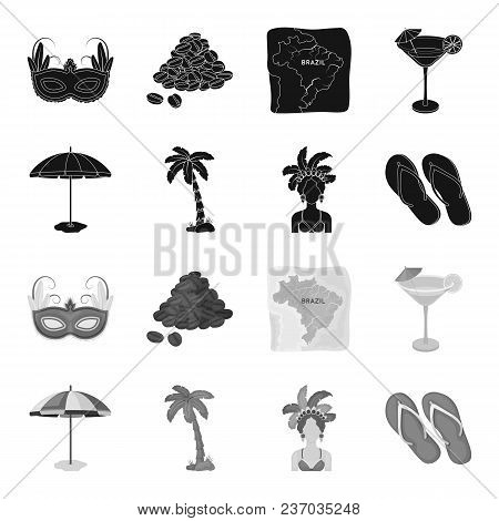 Brazil, Country, Umbrella, Beach . Brazil Country Set Collection Icons In Black, Monochrome Style Ve
