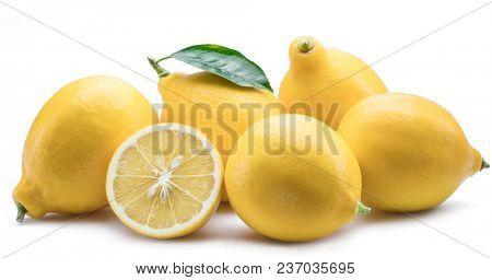 Group of lemon fruits with lemon leaf on the white background.