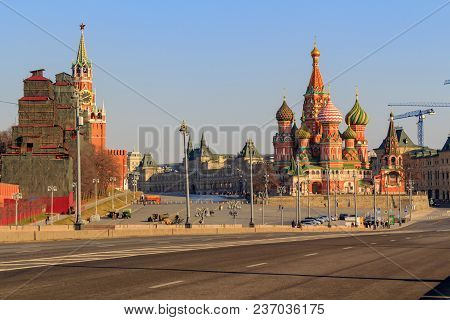 Moscow Kremlin And St. Basil's Cathedral On A Sunny Spring Morning. View From The Bol'shoy Moskvoret