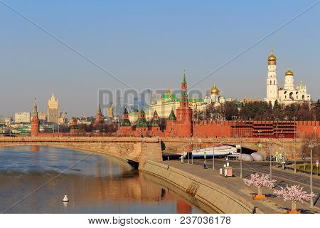 View Of Moscow Kremlin On A Sunny Spring Morning
