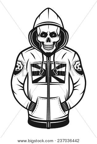 Soccer Hooligan Skull In Hoodie With British Flag Print On Chest Vector Illustration In Monochrome V