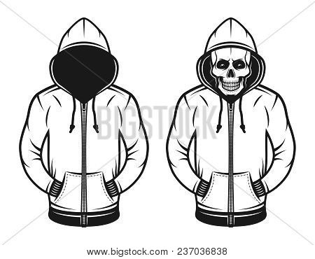 Hoodie With Blank Face And With Skull Set Of Two Vector Objects Or Design Elements In Vintage Style