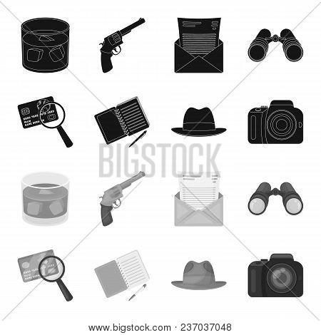 Camera, Magnifier, Hat, Notebook With Pen.detective Set Collection Icons In Black, Monochrome Style