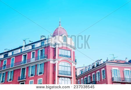Building Of Massena Square In Nice, France. Creative Trendy Travel Concept.