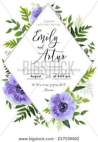 Wedding Invite, Invitation, Save The Date Card Design: Violet Lavender Anemone Poppy Flower, Green L