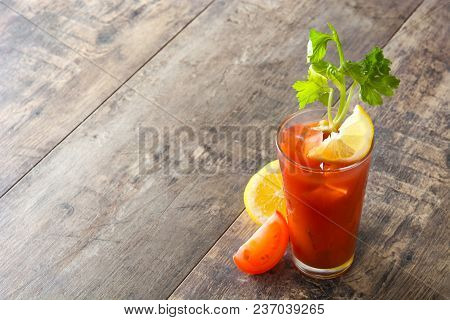 Bloody Mary Cocktail In Glass On White Background.copyspace