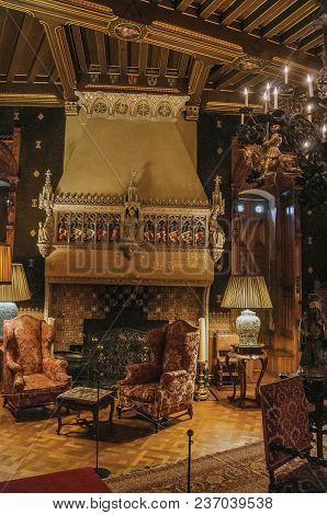 Utrecht, Northern Netherlands - June 28, 2017. Opulent Furniture And Fireplace In De Haar Castle, Ne