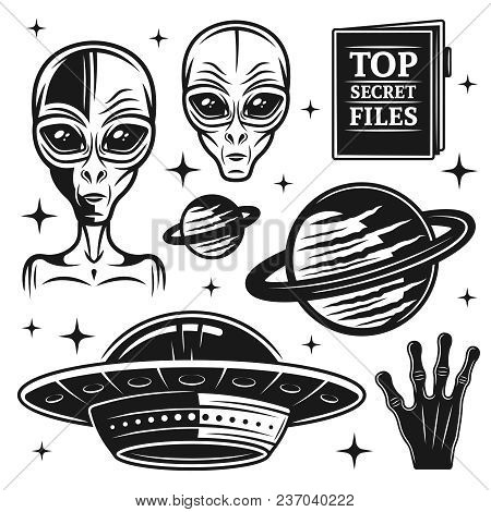 Aliens And Ufo Set Of Paranormal Activity Vector Objects And Design Elements In Monochrome Style Iso