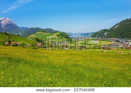 A Springtime View From The Foot Of Mt. Stanserhorn In The Swiss Canton Of Nidwalden, Summit Of Mt. P